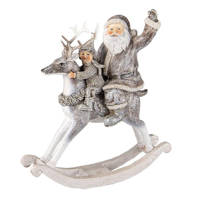 Clayre & Eef Decoratie kerstman op hobbelpaard 20*7*22 cm 6PR3475