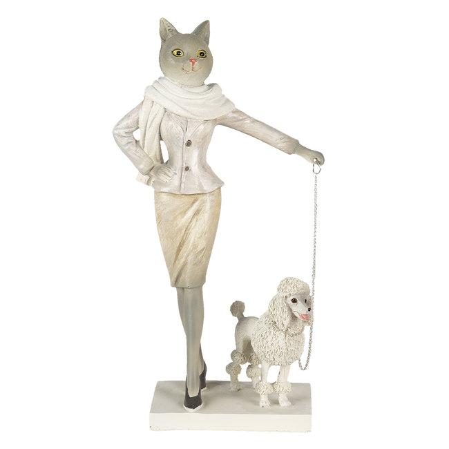 Clayre & Eef Decoratie kat met hond 13*7*24 cm 6PR3500