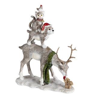 Clayre & Eef Clayre & Eef Decoratie hert met hond, kat en kip 17*9*21 cm 6PR4605