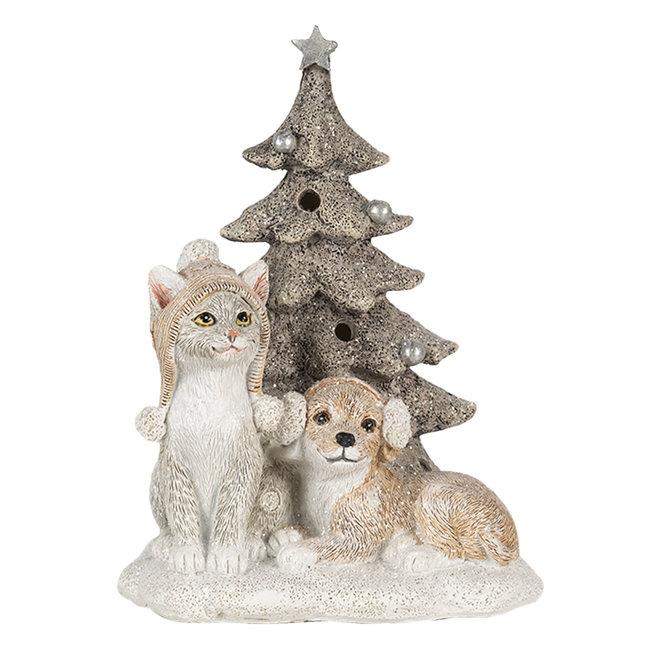 Clayre & Eef Decoratie hond en kat LED 11*9*15 cm 6PR4628