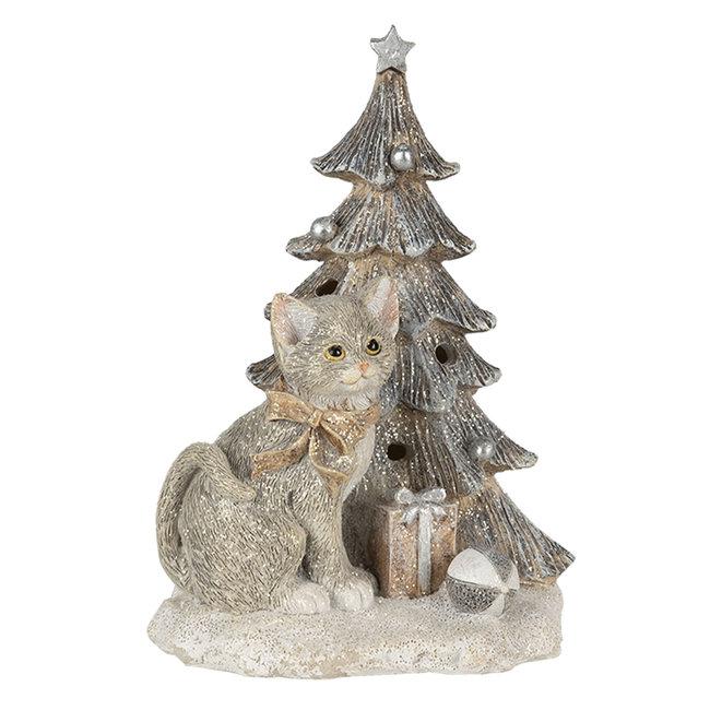 Clayre & Eef Decoratie kat bij kerstboom LED 12*9*16 cm 6PR4629