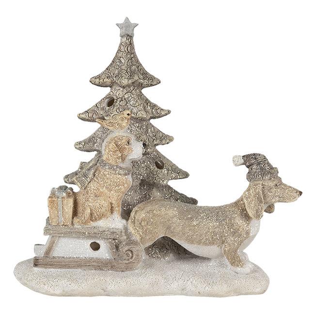 Clayre & Eef Decoratie honden bij kerstboom LED 16*8*15 cm 6PR4630