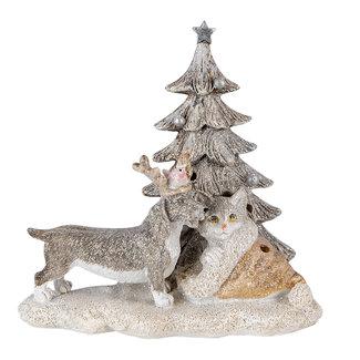 Clayre & Eef Clayre & Eef Decoratie hond en kat LED 16*10*15 cm 6PR4631