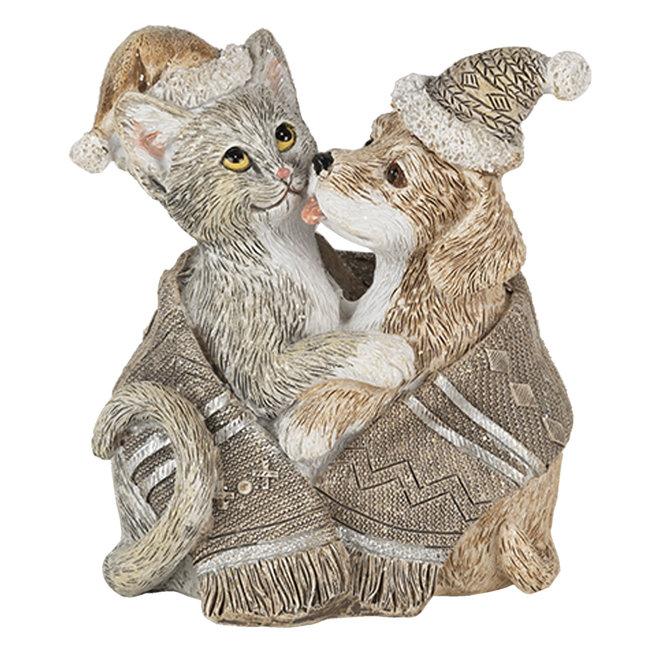 Clayre & Eef Decoratie hond en kat 8*5*9 cm 6PR4634