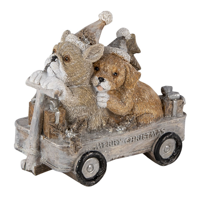 Clayre & Eef Decoratie honden in kar 10*6*9 cm 6PR4637