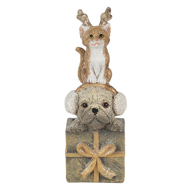 Clayre & Eef Decoratie hond en kat 5*5*13 cm 6PR4642