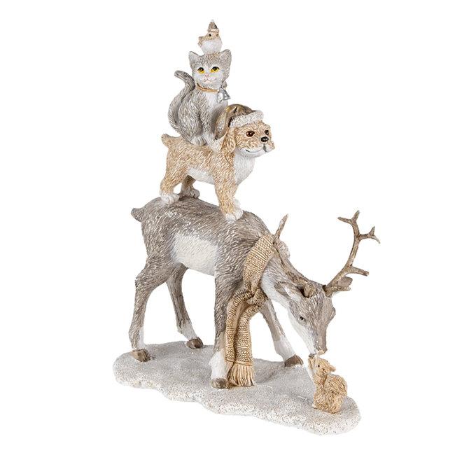 Clayre & Eef Decoratie hert met hond, kat en kip 17*9*21 cm 6PR4645