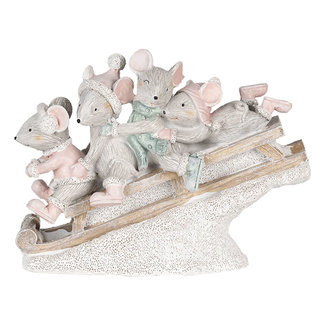 Clayre & Eef Clayre & Eef Decoratie muizen op slee 15*5*11 cm 6PR4709