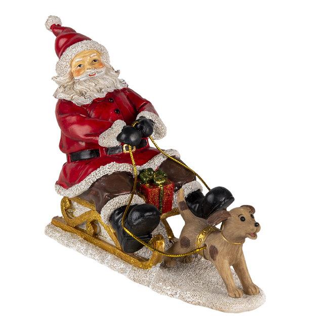 Clayre & Eef Decoratie kerstman op slee 24*8*16 cm 6PR4710