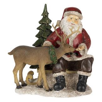 Clayre & Eef Clayre & Eef Decoratie kerstman met rendier 17*14*17 cm 6PR4711