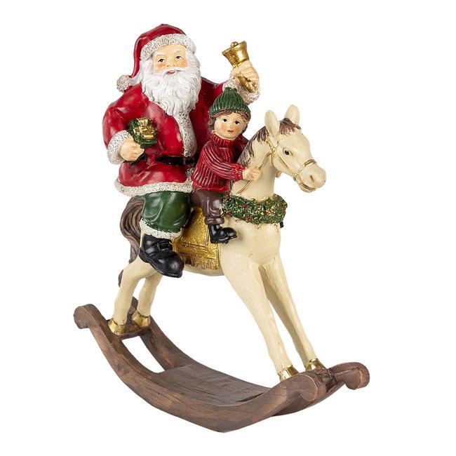 Clayre & Eef Decoratie kerstman op hobbelpaard 20*8*21 cm 6PR4712