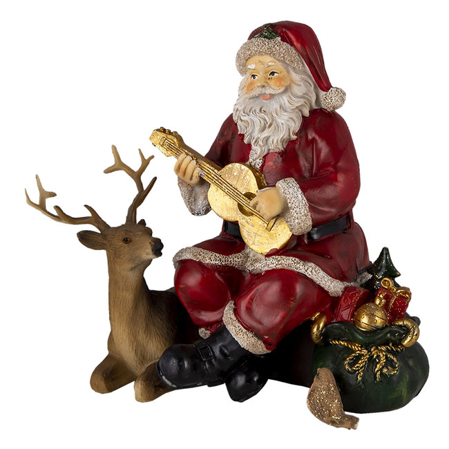 Clayre & Eef Decoratie kerstman met rendier 18*12*16 cm 6PR4713