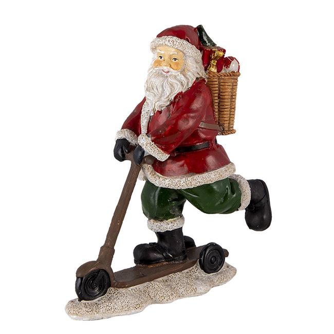Clayre & Eef Decoratie kerstman op autoped 13*6*15 cm 6PR4717