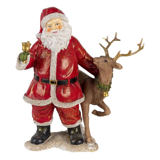 Clayre & Eef Decoratie kerstman met rendier 19*11*20 cm 6PR4722
