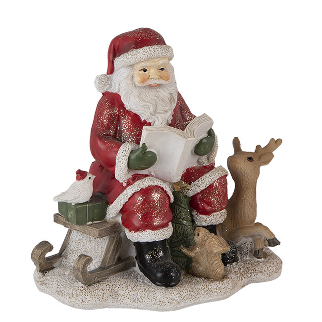 Clayre & Eef Decoratie kerstman met rendier 14*12*13 cm 6PR4723
