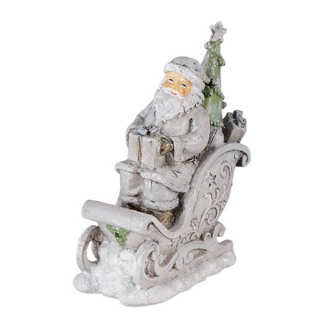 Clayre & Eef Decoratie kerstman in slee 10*6*13 cm 6PR4727