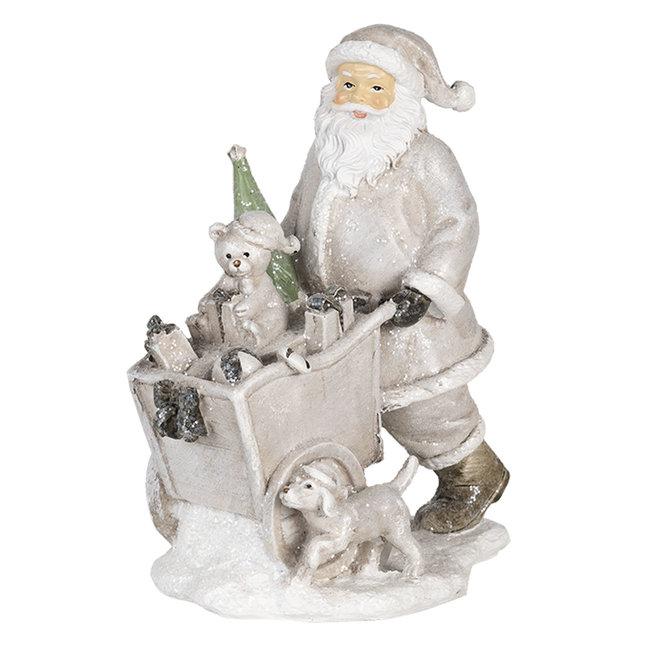 Clayre & Eef Decoratie kerstman met kar 12*8*15 cm 6PR4728