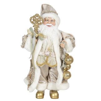 Clayre & Eef Clayre & Eef Decoratie kerstman 15*11*30 cm 64640