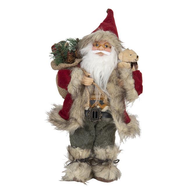 Clayre & Eef Decoratie kerstman 15*11*30 cm 64643