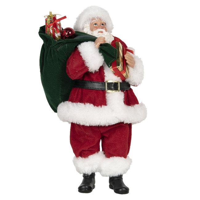 Clayre & Eef Decoratie kerstman 14*14*28 cm 64645