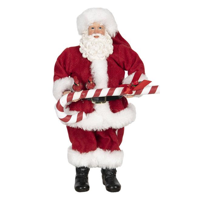 Clayre & Eef Decoratie kerstman 14*14*28 cm 64647
