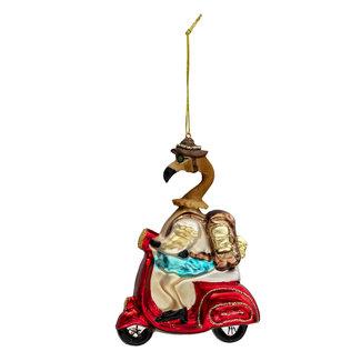 Clayre & Eef Clayre & Eef Kerstbal flamingo op scooter 10*5*13 cm 6GL3310