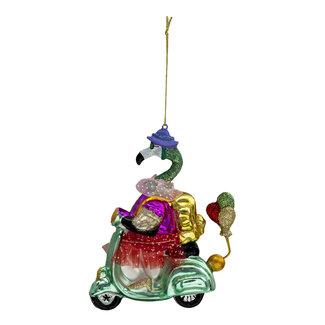 Clayre & Eef Clayre & Eef Kerstbal flamingo op scooter 14*12*5 cm 6GL3311