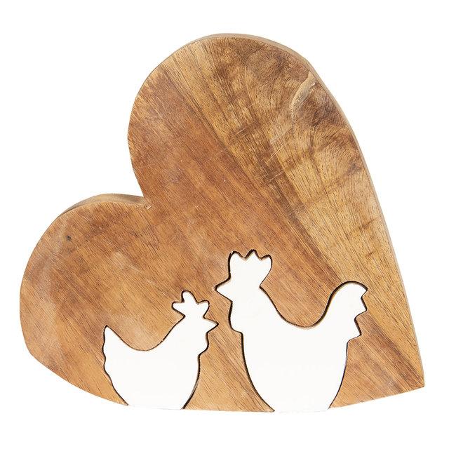 Clayre & Eef Decoratie hart met kip 16*2*15 cm 6H1771S