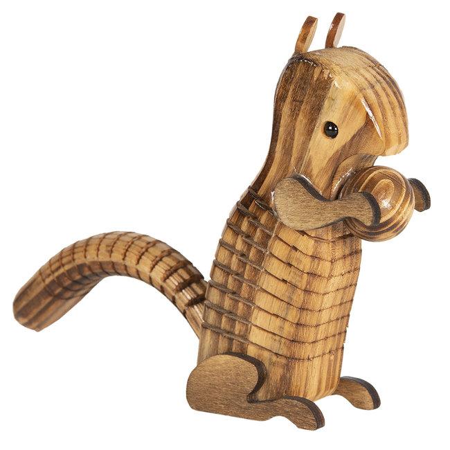 Clayre & Eef Decoratie houten eekhoorn 4*4*13 cm 6H1834