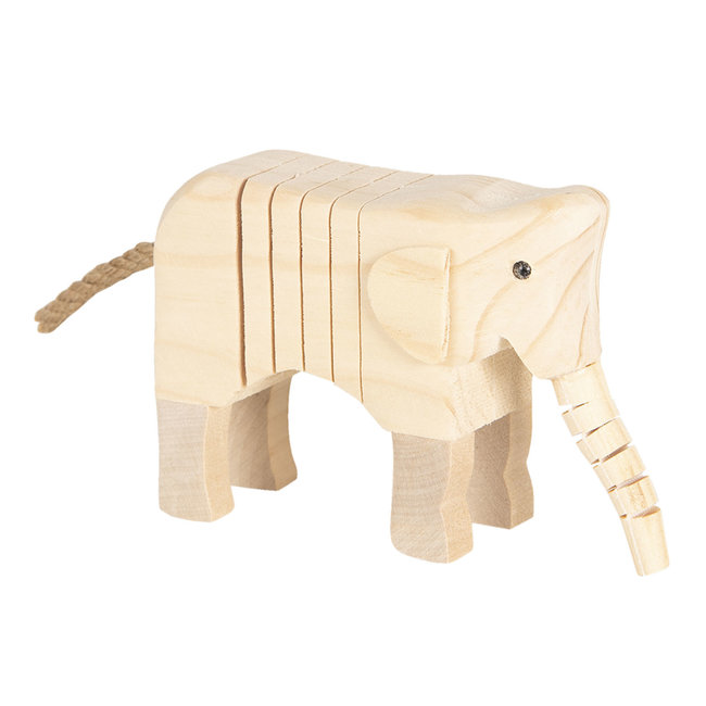 Clayre & Eef Decoratie houten olifant 4*9*11 cm 6H1835