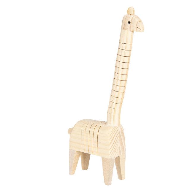 Clayre & Eef Decoratie houten giraf 4*6*24 cm 6H1836