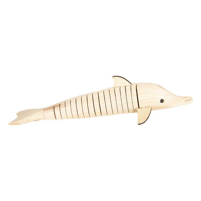 Clayre & Eef Decoratie houten dolfijn 32*5*3 cm 6H1839