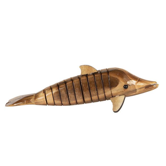 Clayre & Eef Decoratie houten dolfijn 21*4*4 cm 6H1842