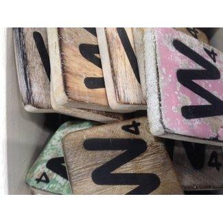 Thils Living houten scrabble letters & tekens Scrabble Letter W