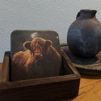 Thils Living Set onderzetters kleine bruine buffel ( 10 stuks ) en een houder voor de onderzetters 20109