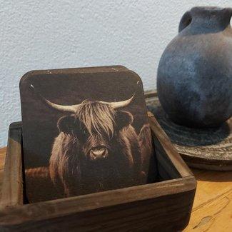 Thils Living Set onderzetters buffel bruin ( 10 stuks ) en een houder voor de onderzetters 20103
