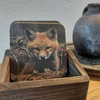 Thils Living Set onderzetters vosje ( 10 stuks ) en een houder voor de onderzetters 20113