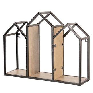 Clayre & Eef Clayre & Eef Wandrek metaal en hout 46*14*36 cm 64300