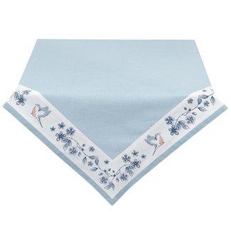 Clayre & Eef Clayre & Eef - tafelkleed 100*100 cm - blauw - 100% katoen - vogel - EBI01