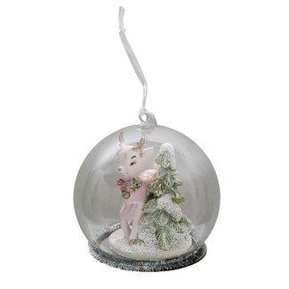 Clayre & Eef Clayre & Eef Kerstbal rendier en kerstboom Ø 10*10 cm 6PR3483
