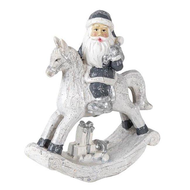 Clayre & Eef Decoratie kerstman op hobbelpaard 13*6*17 cm 6PR3410