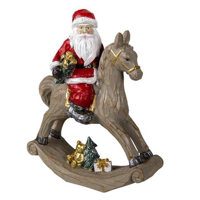 Clayre & Eef Decoratie kerstman op hobbelpaard 25*11*30 cm 6PR3409