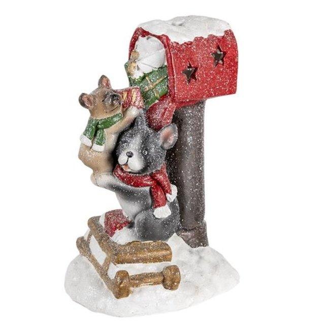 Clayre & Eef Decoratie honden bij brievenbus LED 22*19*35 cm 6MG0012