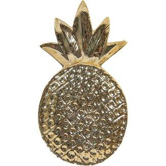 Clayre & Eef Clayre & Eef Clayre & Eef - schaal ananas 12*22 cm - goudkleurig - keramiek - ananas - 6CE1156