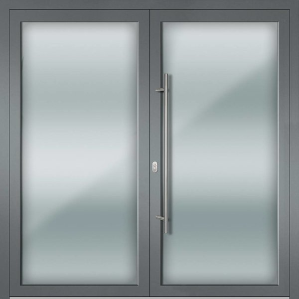 Alu-Haustür MB-Vision Plus Torra 1 Ral 7001 Silbergrau zweiflügelig