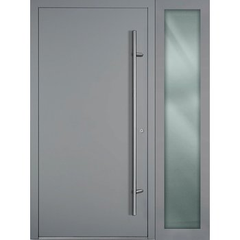 Haustür SL75 M00 Farbe Grau mit Seitenteil Rechts