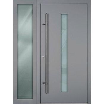 Haustür SL75 M01 Farbe Grau mit Seitenteil Links