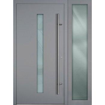 Haustür SL75 M01 Farbe Grau mit Seitenteil Rechts