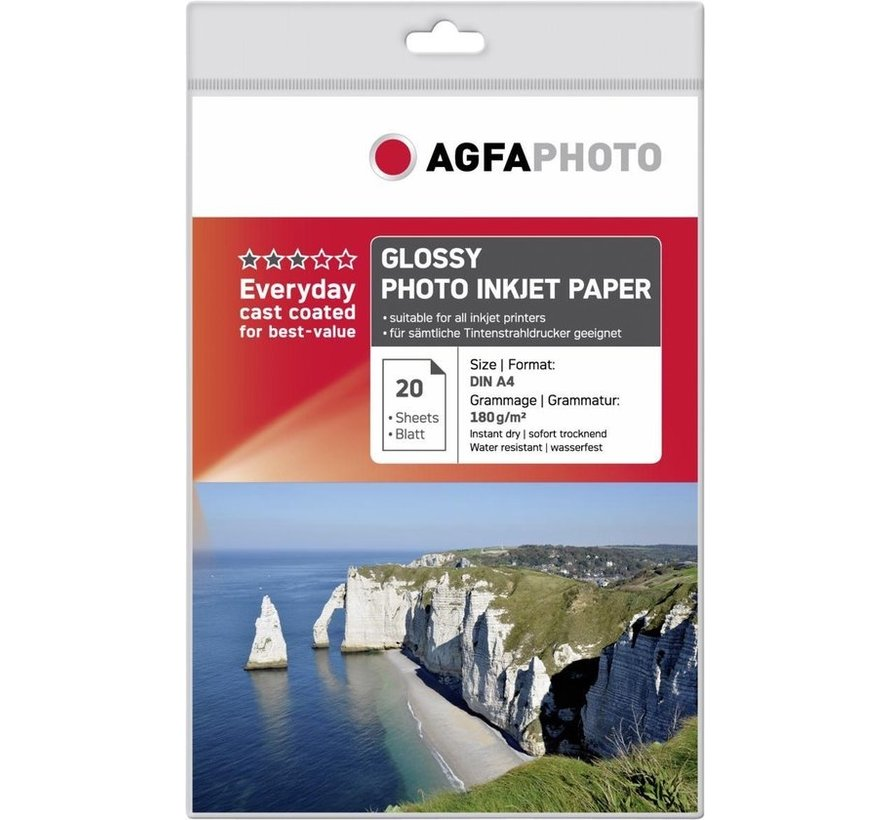 AgfaPhoto Foto papier 1 pak 20 vel 180 grams Inktjet glans