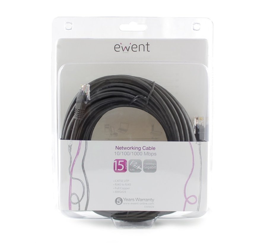Ewent EW9529 Networking Cable 15 Meter Black